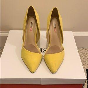Justfab lemon yellow heels